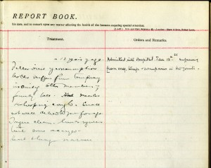 Page from a medical register for St Oswald's Home For Girls, Cullercoats, Whitley Bay, Newcastle upon Tyne, Northumberland, c1896-1901
