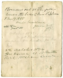 Back page of the application form from case file 419, dated 1885-1894, giving dates for the child's admission to St Bartholomew's Hospital 'to be treated for her eyes'