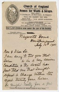 Letter from case file 9825 about the state of the child's health, 1905