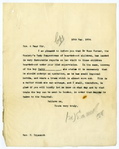 Letter from case file 9903 regarding treatment for the child's hernia, 1904