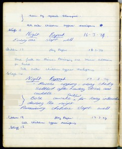 Page from a day and night log book for Sunnyside Nursery for Disabled Children, Box, Wiltshire, 1974