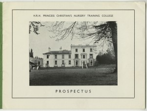Page from a prospectus for HRH Princess Christian's Nursery Training College, Windsor, including a photograph of the exterior of the college, c1950s