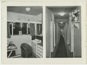 Page from a prospectus for HRH Princess Christian's Nursery Training College, Windsor, including photographs of a student bedroom and the corridor leading to it, c1950s