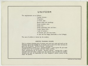 Page from a prospectus for HRH Princess Christian's Nursery Training College, Windsor, including details of the students' uniform, c1950s
