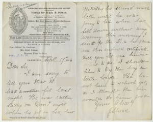 Letter from case file 4748, giving an account of the child's epileptic seizure, 1896