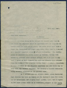 Letter from case file 7207, discussing the funding required for a medical boot and leg support for a child with rickets, 1911