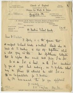 Letter discussing the need to burn school books thought to cause an outbreak of diphtheria at St Nicholas' and St Martin's Orthopaedic Hospital and Special School, Pyrford, Surrey, 1927