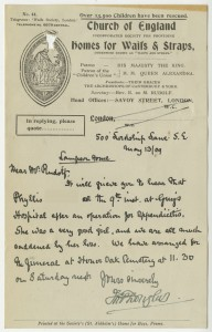 Letter from case file 10143, giving the news that Phyllis had died of appendicitis following an operation, 1909