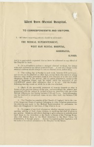 List of Rules for Correspondents and Visitors to West Ham Mental Hospital, c1920