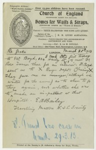 Letter from case file 14799, mentioning Grace's visit to a doctor in Harley Street followed by an x-ray at Charing Cross Hospital, 1913