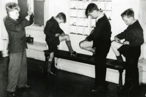 Four boys giving themselves an injection at St George's Home for Diabetic Boys, Kersal, Manchester, Lancashire, c1950s
