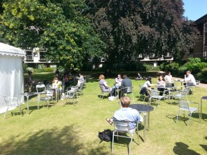 Conference attendees enjoying the sunshine