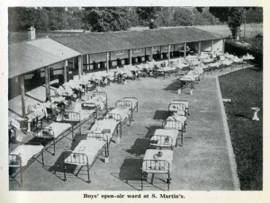 The open-air ward at St Martin's Home, Pyrford, Surrey, 1928