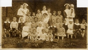 Children and staff at St Denys' Home, Clitheroe, Lancashire, 1919