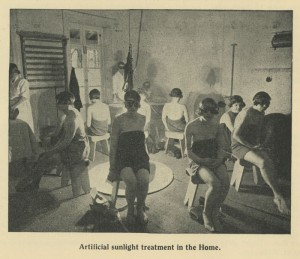 Photo of girls undergoing artificial light therapy at Halliwick School for Girls, Winchmore Hill, London, taken from the school's annual report, 1937