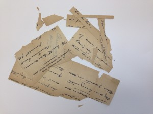 Deteriorated document that has broken into pieces