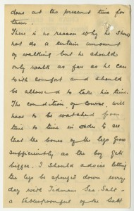 Letter about treatments for John's feet and legs, 1920, from case file 17217