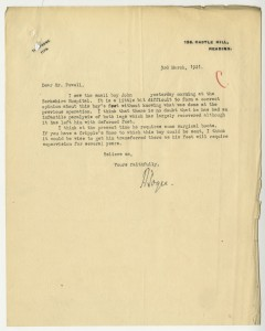Letter about treatment for John's feet, 1921, from case file 17217