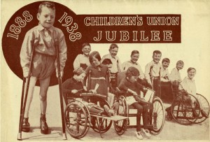 Leaflet celebrating 50 years of the Children's Union, a body which raised funds for The Children's Society's homes for disabled children, leaflet dated 1938