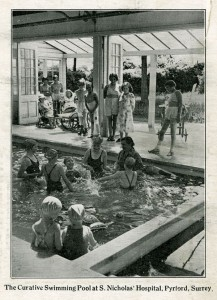 Children undergoing hydrotherapy treatment at St Nicholas' and St Martin's Orthopaedic Hospital and Special School, Pyrford, Surrey, c1930s