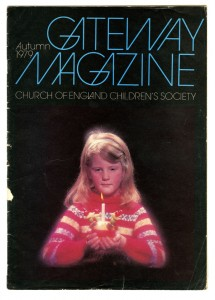 Cover of The Children's Society's Gateway magazine, Autumn 1979, showing a girl with a Christingle