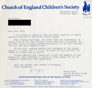 Letter of thanks to Mrs Hall from the Woodhouse Eaves home, 1983