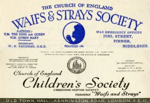 Branding from the 1940s showing the change in name from the Waifs and Strays Society to The Children's Society