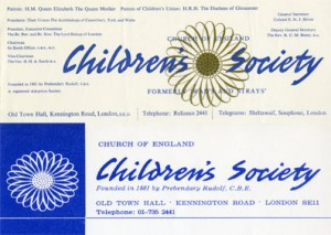 The Children's Society's branding from the 1950s to the 1960s