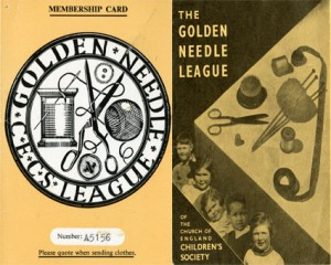 Mrs Hall's Golden Needle League membership card (left) and a 1940s promotional leaflet for the Golden Needle League (right)
