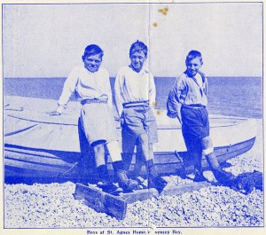 Photograph from a leaflet advertising the Children's Union, showing boys on the beach at St Agnes' Convalescent Home, Pevensey Bay, Sussex, c1936