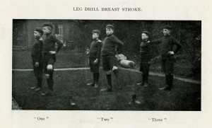 Photograph of boys learning to swim at St Mark's Home, Natland, Cumbria, 1914