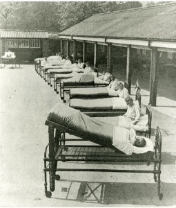 Children receiving fresh air treatment in the outdoor ward of St Nicholas' Home, Pyrford, Surrey, early 20th Century