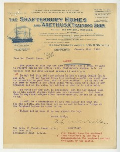 Alfred's acceptance letter from the Arethusa Navy Training ship, 1922 (case number 20702)