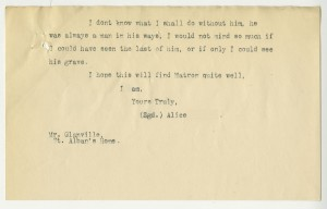 A letter from Alfred's mother informing The Children's Society of his death, 1926 (case number 20702)