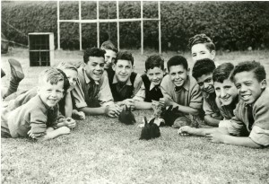 A group of boys from St Nicholas' Home, Boldon, with their pet rabbits, 1959.