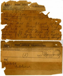 Telegram from Lord Kitchener to the 'Waifs and Strays Society', 1915