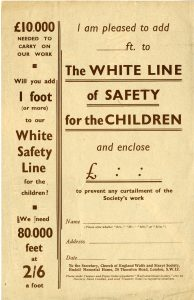 Donation form, the reverse of the fundraising flyer 'The White Line of Safety for the Children'
