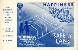 Fundraising flyer, 'A Safety Lane', used in Our Waifs and Strays in October 1934