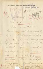 Image of Case 2 11. Letter from St. Marks Home for Waifs and Strays  1 April 1887  page 1