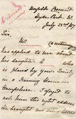 Image of Case 175 2. Letter from Miss H.  22 July 1887  page 1