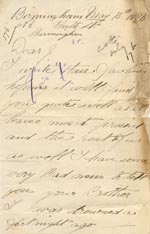 Image of Case 176 2. Letter from J's brother 13 May 1886  page 1