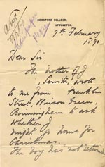 Image of Case 176 6. Letter from Denston College 7 February 1890  page 1