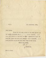 Image of Case 189 21. Letter to Miss Ward 8 September 1931  page 1