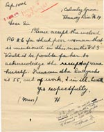 Image of Case 189 22. Letter from Miss H. 10 September 1931  page 1