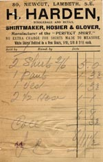 Image of Case 201 5. Receipt from H.Harden, Shirtmaker 8 November 1904  page 1