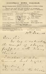 Image of Case 239 6. Letter from Fareham Home to the Revd Edward Rudolf enclosing letter about E. losing her situation  13 December 1888  page 1