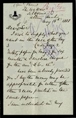 Image of Case 326 4. Letter to Revd Edward Rudolf from W.C. Parr 15 May 1888  page 1