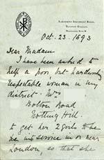 Image of Case 476 2. Letter from Sister Marian of St  Andrew's Deaconess' House, Westbourne Park concerning the girls' mother's wish to have her daughters returned to London  23 October 1893  page 1
