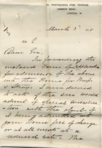 Image of Case 517 2. Letter accompanying application form  3 March 1885  page 1