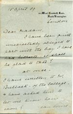Image of Case 517 18. Letter from Emily Jackson  15 April 1889  page 1